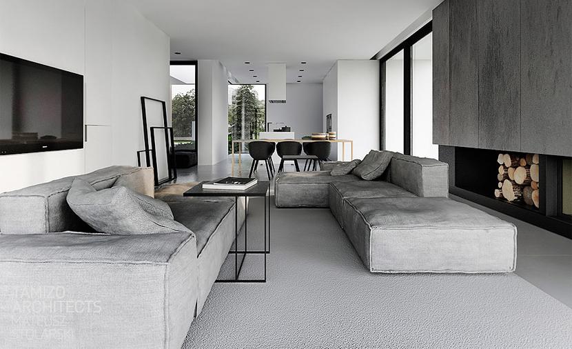 strak zwart wit interieur